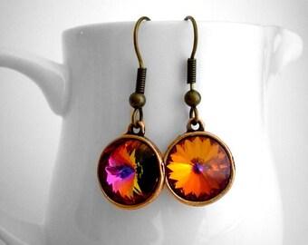 Volcano Swarovski Earrings, Orange Bridesmaid Earrings, Copper Earrings, Rivoli Swarovski Crystal Earrings, Fall Wedding Earrings, Autumn