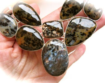 Dendritic Agate Called Petrified Wood Opal Crystal Sterling Silver Bib Necklace