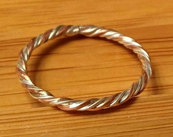 Gold and silver twisted ring
