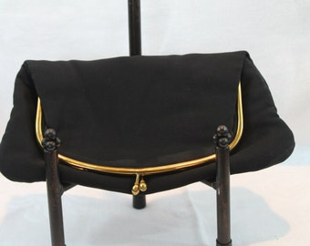 Vintage Black Ingber Rayon Clutch with Gold Hardware