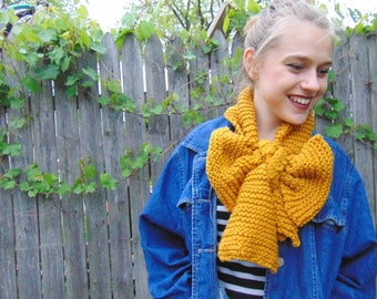 Mustard Knit Scarf Bow Scarf Fall Scarf for Women Fall Scarf Knit Hand Knit Scarf Yellow Knit Scarf Mustard Accessories Winter Scarf Women