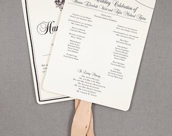 Rustic Wedding Program Fans with Elegant Chandelier and String Lights