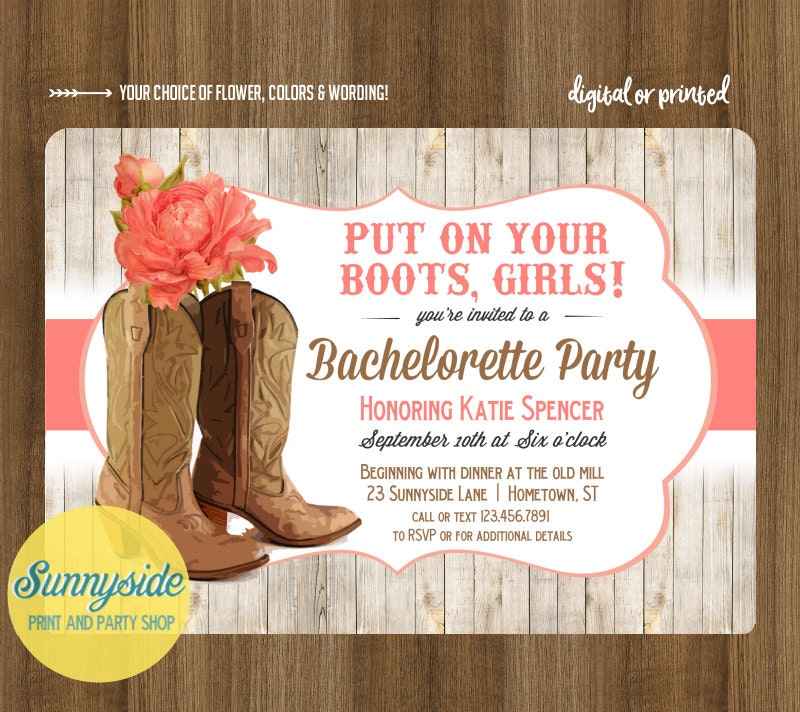 Great Western Bachelorette Party Invitations Contemporary ...