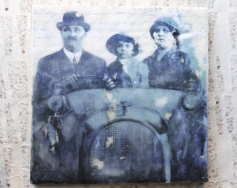 Antique Paris Photo, Shabby Chic Home Decor: Encaustic Mixed Media Art