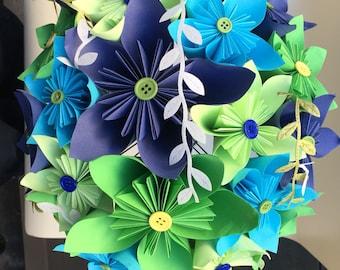 Unique origami blue bouquet