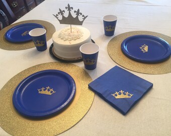 Royal Prince Blue and Gold Glitter Crown Party Cups Plates and Napkins,Crown Prince Party,Prince Baby Shower, Its a Boy Shower, Prince Party