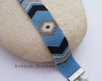 Blue woven bracelet, small cuff graphic pattern