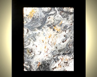 Original Palette Knife Drip Art, SILVER Gold and White Painting, Textured Abstract Storm FRAMED Painting On Sale by Dan Lafferty - 8X10