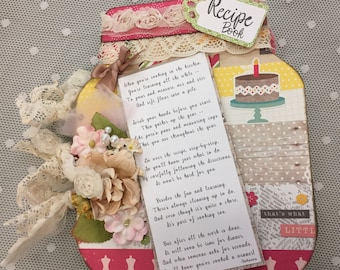 Recipe Book/ Shabby Chic/Memory Keeper/ Cook Book