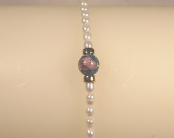 Freshwater pearl and cloisonne bracelet