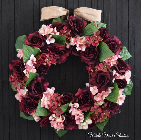 Rose and Hydrangea Front Door Wreath in Pink and Burgundy