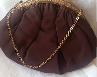 Vintage 1940s burgundy Garwood evening bag