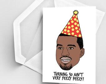 30th Birthday Card, Kanye West Birthday Card, Birthday Greeting Card, Funny Kanye Birthday Card, Digital Kanye Drawing, Card Birthday 30