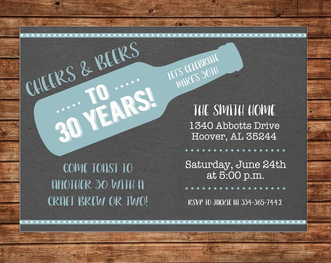 Boy Invitation Cheers Beers Masculine Surprise Birthday Party - Can personalize colors /wording - Printable File or Printed Cards