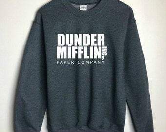 The Office Dunder Mifflin Sweatshirt Grey - The Office TV Show Gifts - The Office Sweatshirt - Dwight Schrute Farms Tshirt - Dunder Mifflin