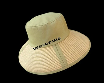 """Women's Wide Brim Sun Hat, Sun Protection Hat/, Summer Hat  in Khaki Tan Twill and Straw is on - """"SALE! SALE! SALE!"""""""
