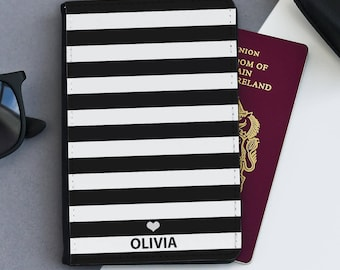 Stripey Passport Cover |  Personalised Passport Cover Holder | Custom passport holder | Lady's passport wallet | Passport Gift | Mother
