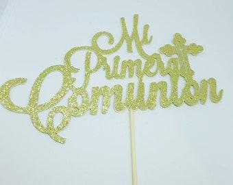 Lg - Glitter Mi Primera Comunion caketopper