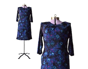 1960s Dress, 60s Dress, Dark Floral Dress, Fall Dress, Long Sleeve Dress, Casual Dress, Womens Clothing, Vintage Clothing,