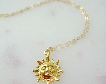 Gold Sun Necklace / Dainty Gold Sun Necklace / Delicate Gold Sun Charm / Delicate Gold Chain / Gold Dainty Necklace / AD024