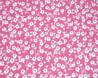 100% cotton fabric old pink patterned white cherry blossoms, sold by 10 cm by 150 cm