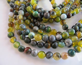 6mm AGATE Beads in Olive Green, Yellow, Amber and Gray Shades, Round Smooth, 1 Strand 15in, Approx 62 Beads, Slightly Translucent