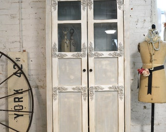 Farmhouse Cabinet Painted Cottage Shabby Chic Cabinet