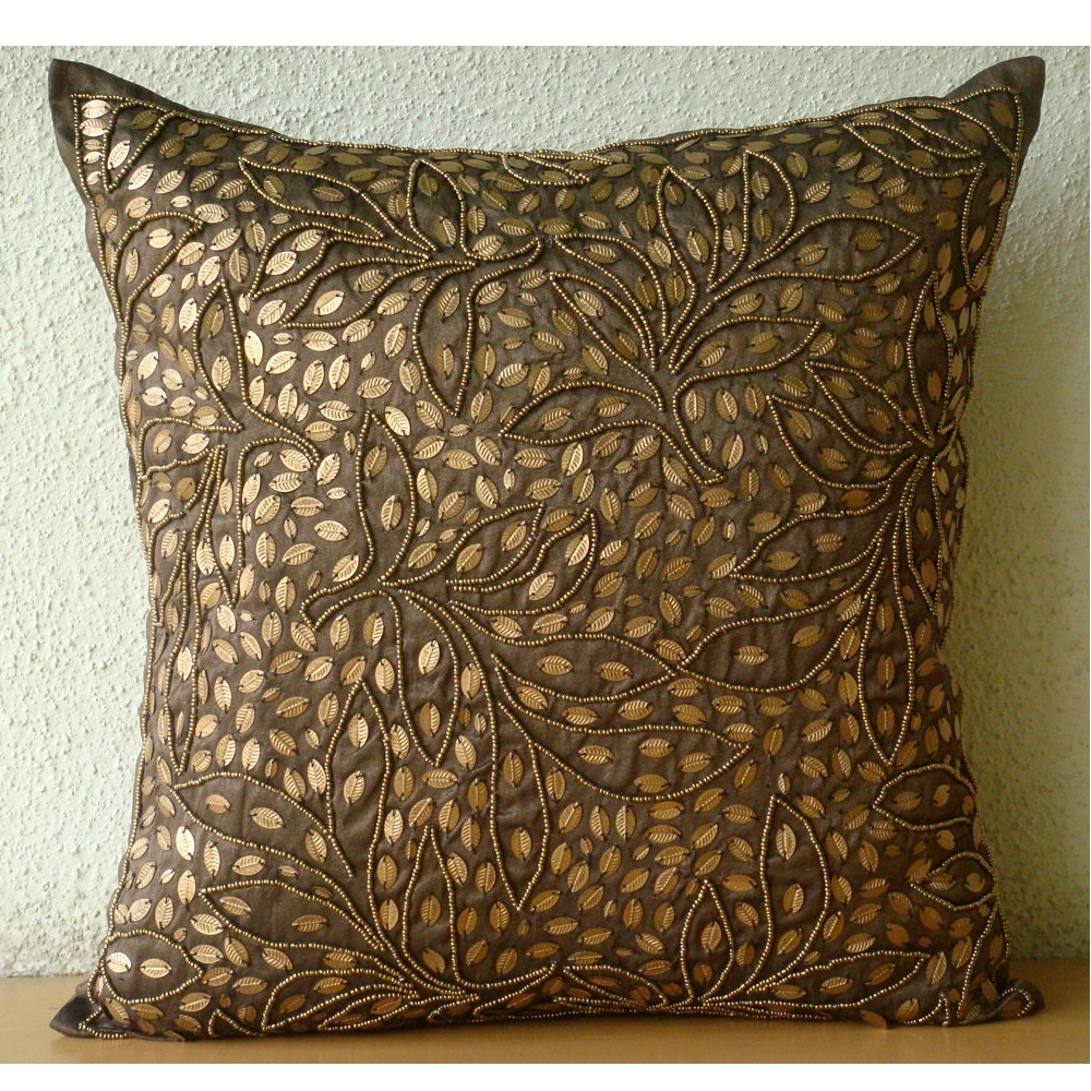 Brown Throw Pillows Cover For Couch Square Sequins