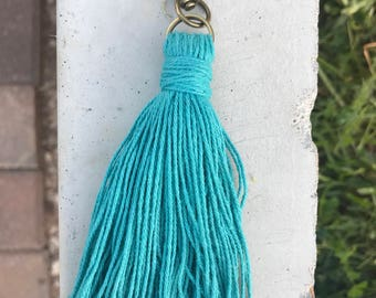 Teal Cotton Keychain/zipperpull
