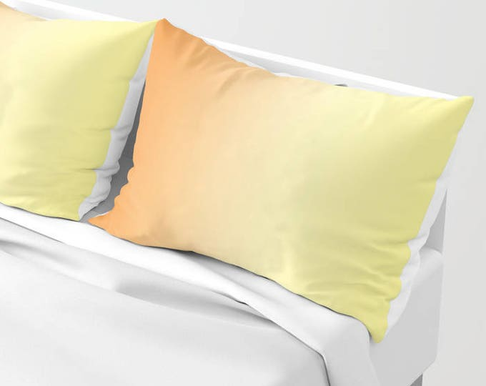 Pillow Shams - Pillowcases - Orange and Yellow Ombre - Original Art - Made to Order