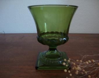 Vintage Olive GREEN Botanical Vase - Depression Glass PEDESTAL Flower Urn VASE - Planter - Candle Jar - Soap Holder - Zen glass Vessel