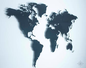 M design world map of steel anthracite grey powder coated wall decoration (magnetic)