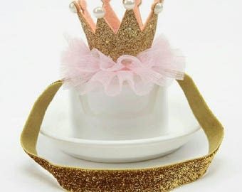 First birthday pink and gold crown headband, crown headband, birthday headband, first birthday crown,babies first birthday,girls birthday
