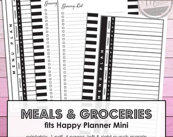 For Mambi Mini Happy Planner 365 create: pdf Meal Planner, Grocery List printable pages, weekly menu plan, meal planning, menu planner