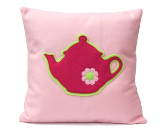 Pink Teapot Eco-Felt Pillow Cover - 18 inches - Baby Pink and Shocking Pink