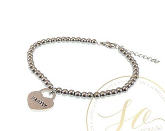 4mm Bead Bracelet with Heart Charm - Personalised Hand Stamped - Stainless Steel Silver, Gold, Rose Gold