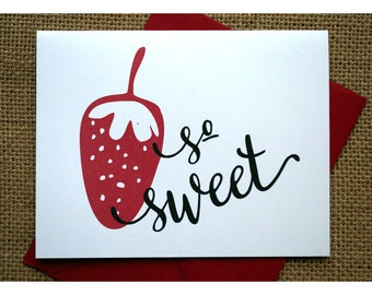 Thank You Notes - Berry - Strawberries - So Sweet - Note Cards with Strawberry and Calligraphy - Thank You Cards - Thank You Notes