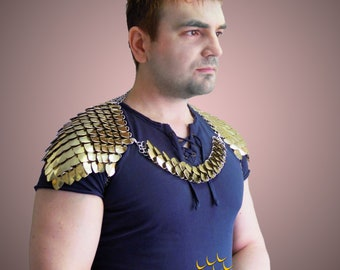 Scale mail Shoulder Emperor 2 - GOLD -  Warrior Pauldrons - Men's Accessories - ScaleMail - Club - Armor - Epaulet -  cosplay - Chainmail