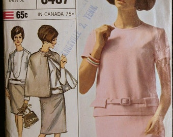 Vintage 60s Sewing Pattern Misses Mod Two Piece Dress and Cape Simplicity 6407 sz 12
