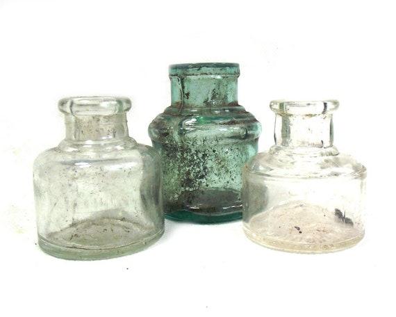 "2.5"" Vintage Glass Ink Bottle Collection"