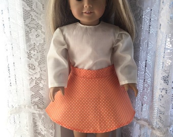 Orange and white dotted swiss fabric swing skirt for 18 inch dolls