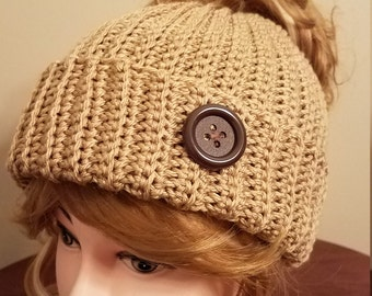 Tan Color Messy Bun Hat. Super soft, for teens or adults - Ready to be Shipped