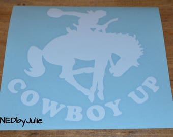 Cowboy Up White Car Decal / Sticker