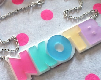 Pastel New Kids On The Block Necklace, NKOTB, Laser Cut Acrylic, Plastic Jewelry