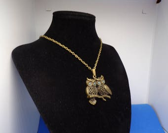 Bronze necklace with pendant OWL couple