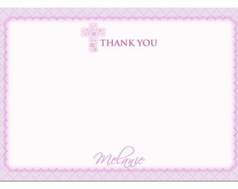 First Communion Thank You Card  - Purple First Communion Thank You Cards - Girl First Communion Thank You Card