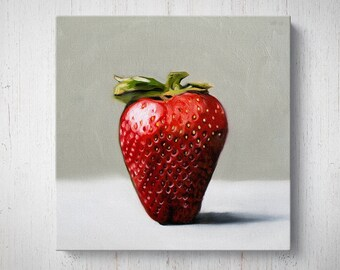 Single Strawberry - Fruit Oil Painting Giclee Gallery Mounted Canvas Wall Art Print