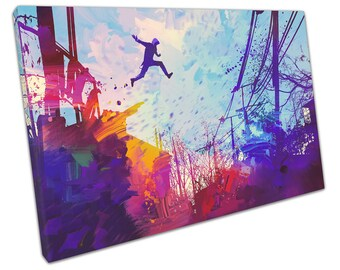 jumping man canvas wall art picture large 75 x 50 cm ready to hang TN168