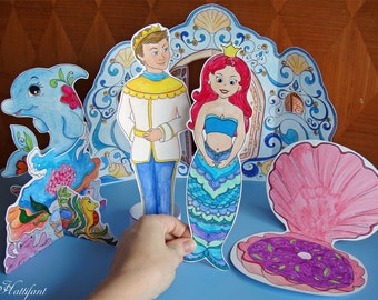 Magical Mermaid World Paper Toy Playset Printable Paper Craft PDF _US Letter Size