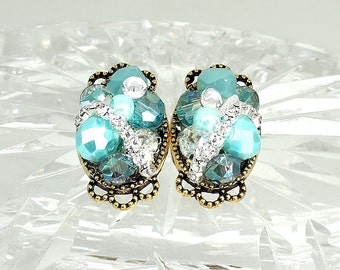 Aqua Earrings- Aqua Pearl Studs- Aqua Bridal Earrings- Aqua Stud Earrings- Aqua Wedding Studs- Aqua Bridesmaid Earrings- Brass Boheme-Clips